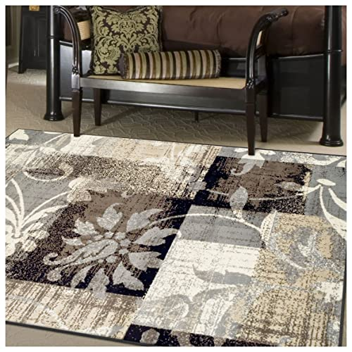 Superior Designer Pastiche Area Rug, Distressed Geometric Floral Patchwork Pattern, 4 x 6 , Chocolate