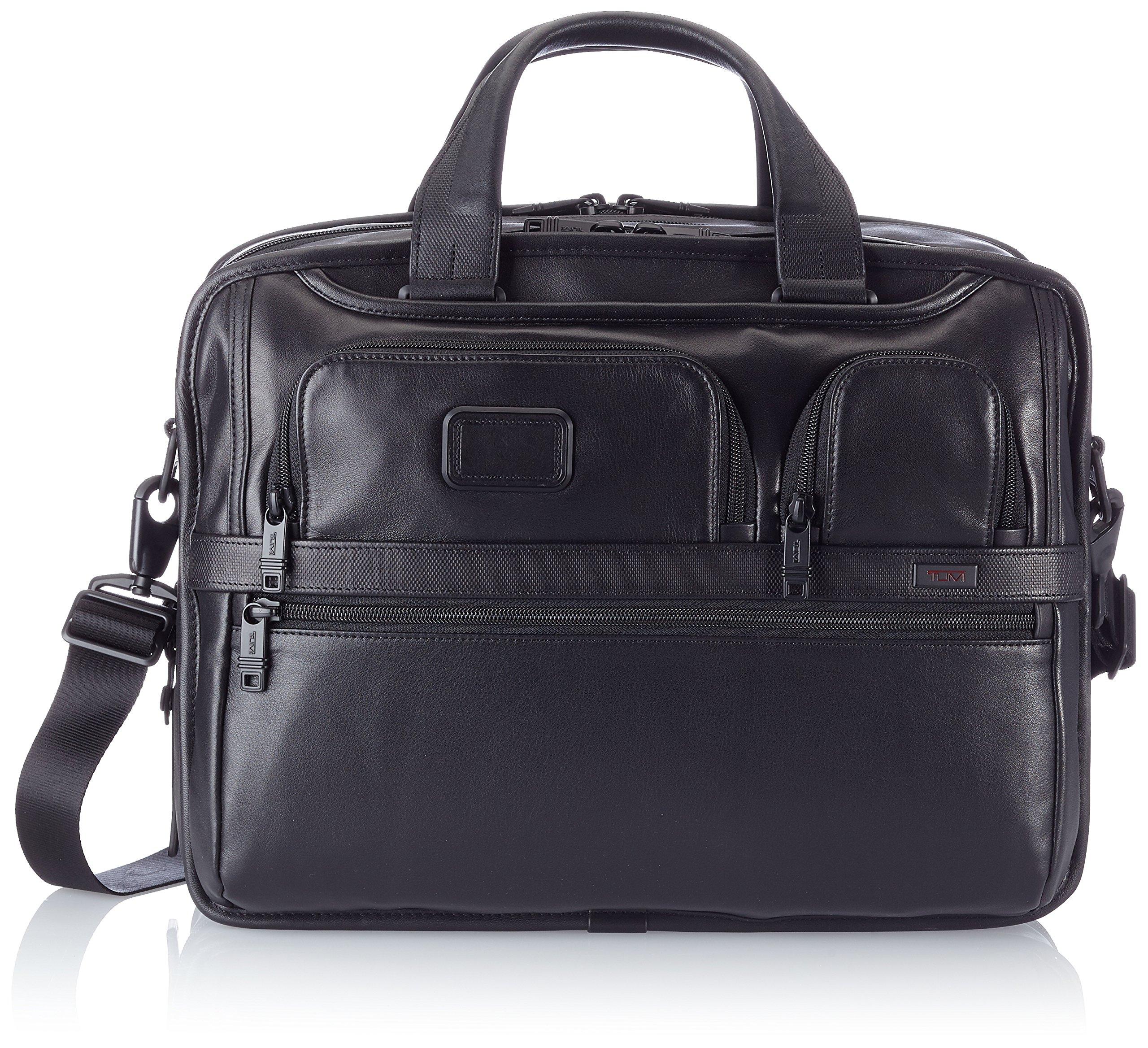 Tumi Alpha 2 Expandable Organizer Laptop Leather Brief, Black, One Size