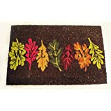 Natural Coir Fall Leaves Welcome Doormat with Vinyl Backing