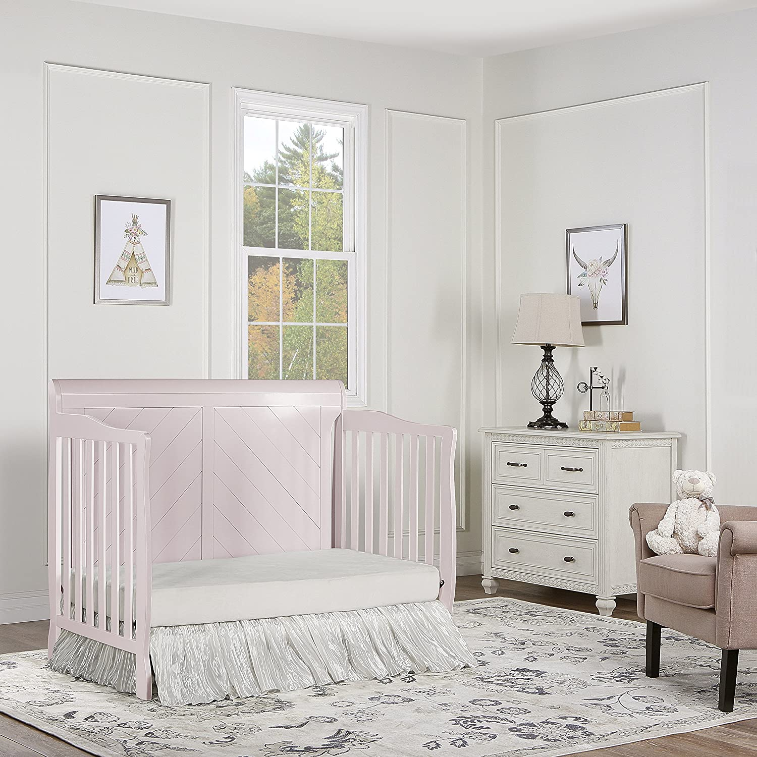Dream On Me Ashton Full Panel Convertible 5-in-1 Crib, Blush Pink