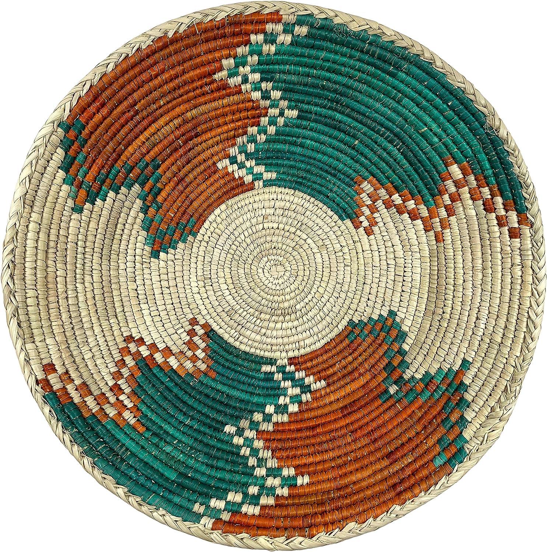 Purposeful Baskets Hand Made Decorative Woven Bowl Tray Centerpiece Lightening Red Green