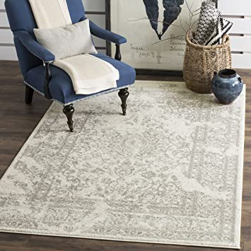 Safavieh Adirondack Collection ADR101B Ivory And Silver Oriental Vintage Distressed Area Rug 8 X
