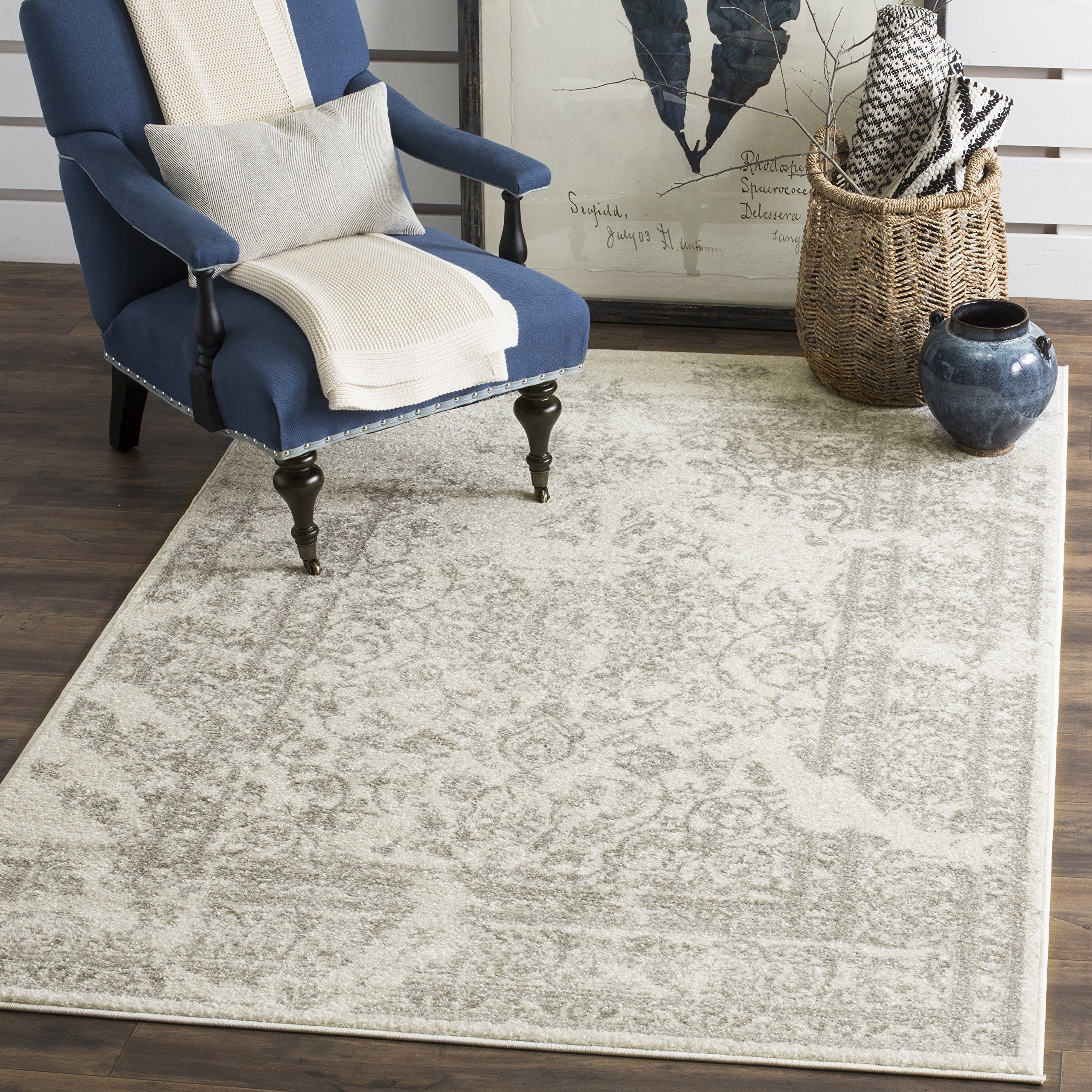 Safavieh Adirondack Collection ADR101B Ivory and Silver Oriental Vintage Distressed Area Rug (8' x 10') by Safavieh