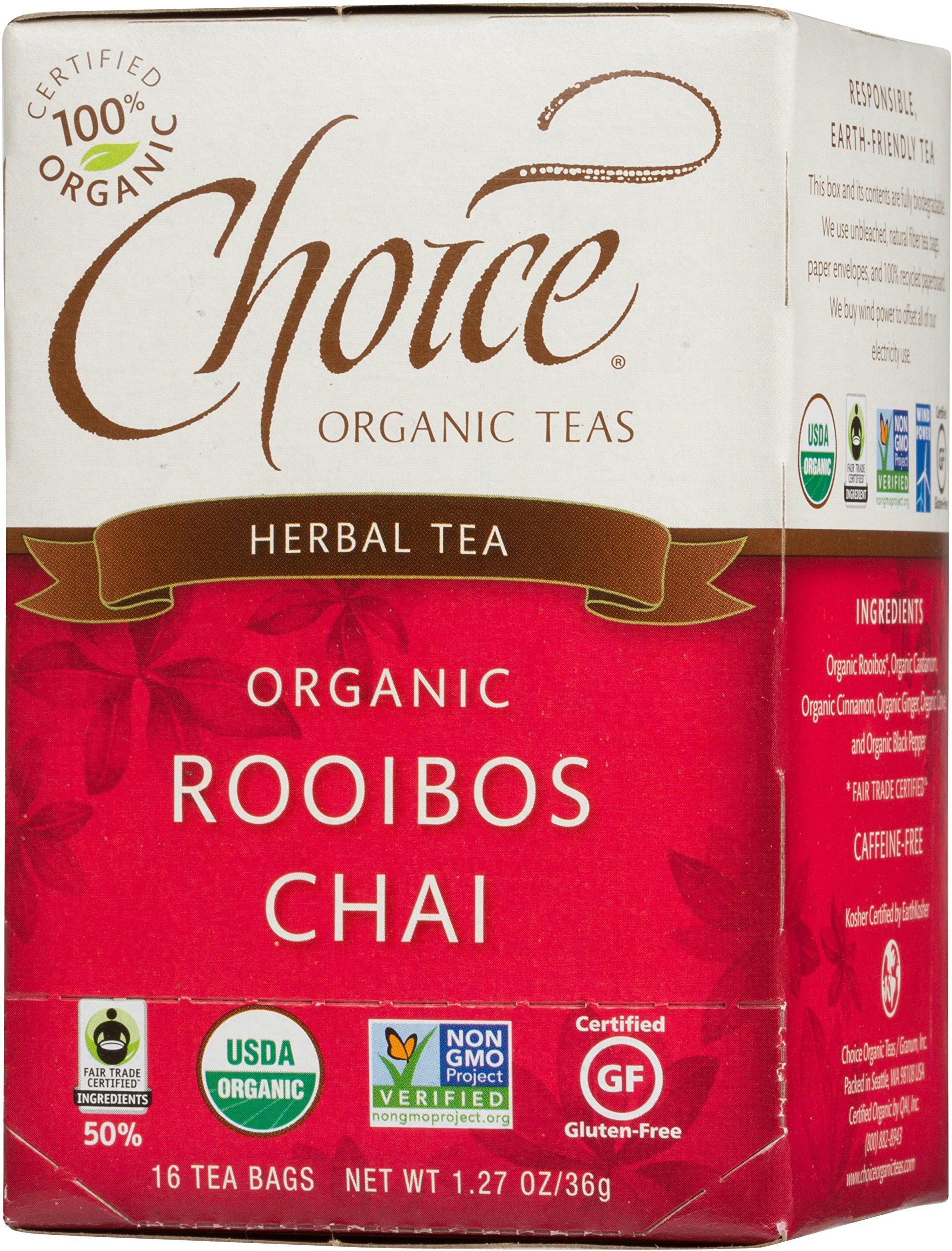 Choice Organic Teas Caffeine Free Herbal Tea, Rooibos Chai, 16 Count, Pack of 6