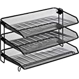 AmazonBasics Mesh Collection 3-Tier Desk Tray, Black