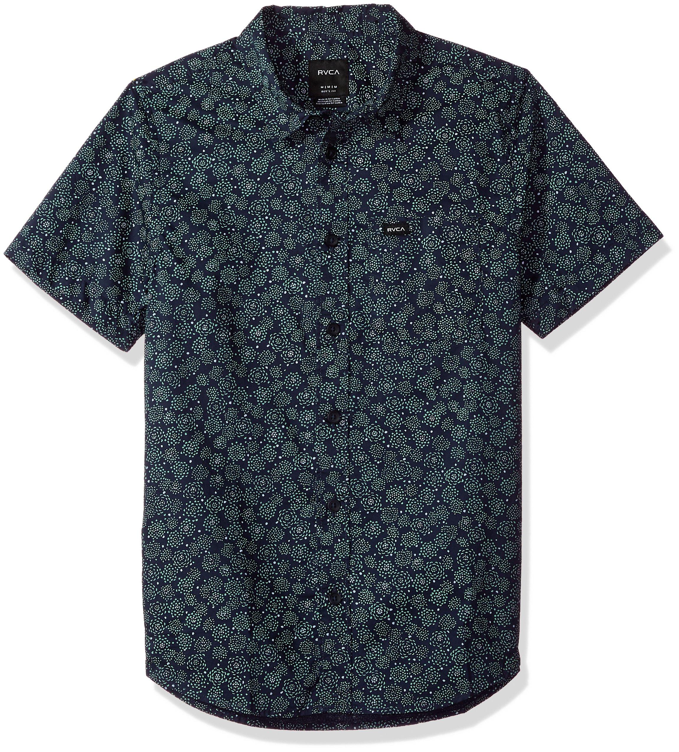 RVCA Boys' Big CLETA Short Sleeve Woven Shirt, Classic Indigo, S
