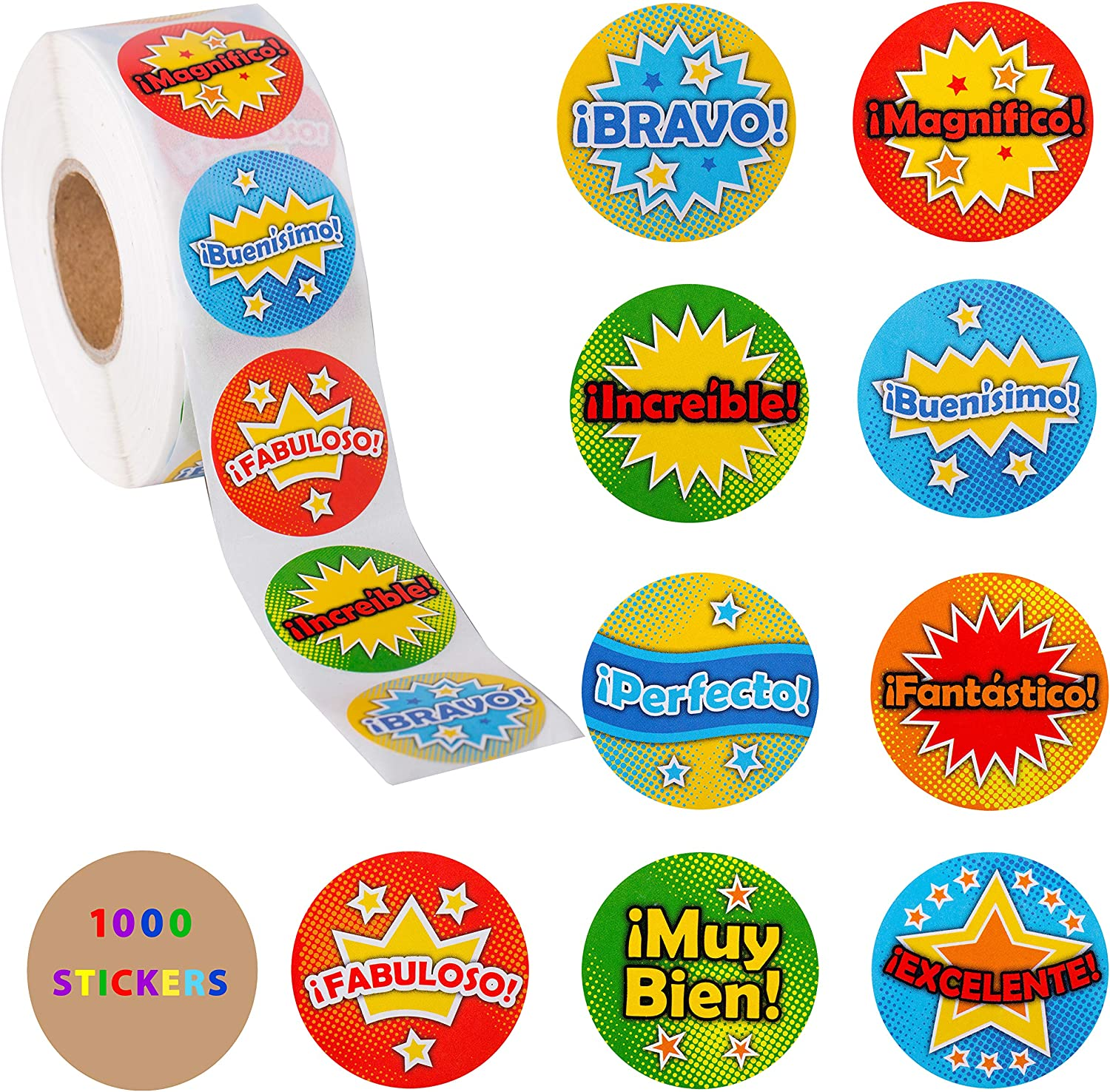 Spanish Stickers - 1000 Stickers For Kids Roll - Teacher Reward Stickers 1.5 Inch – Spanish Class Stickers - Back to School Classroom Supplies Motivation Stickers For Students – Behavior Stickers 1000