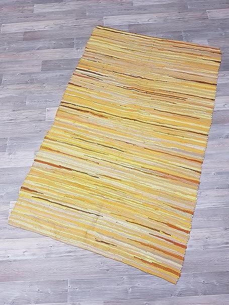Garmisch fleckerl Alfombra Salzburg 120 x 180 amarillo 100% algodón sin flecos: Amazon.es: Hogar