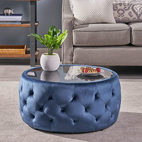 Christopher Knight Home Ivy Glam Velvet and Tempered Glass Coffee Table Ottoman, Cobalt, Black