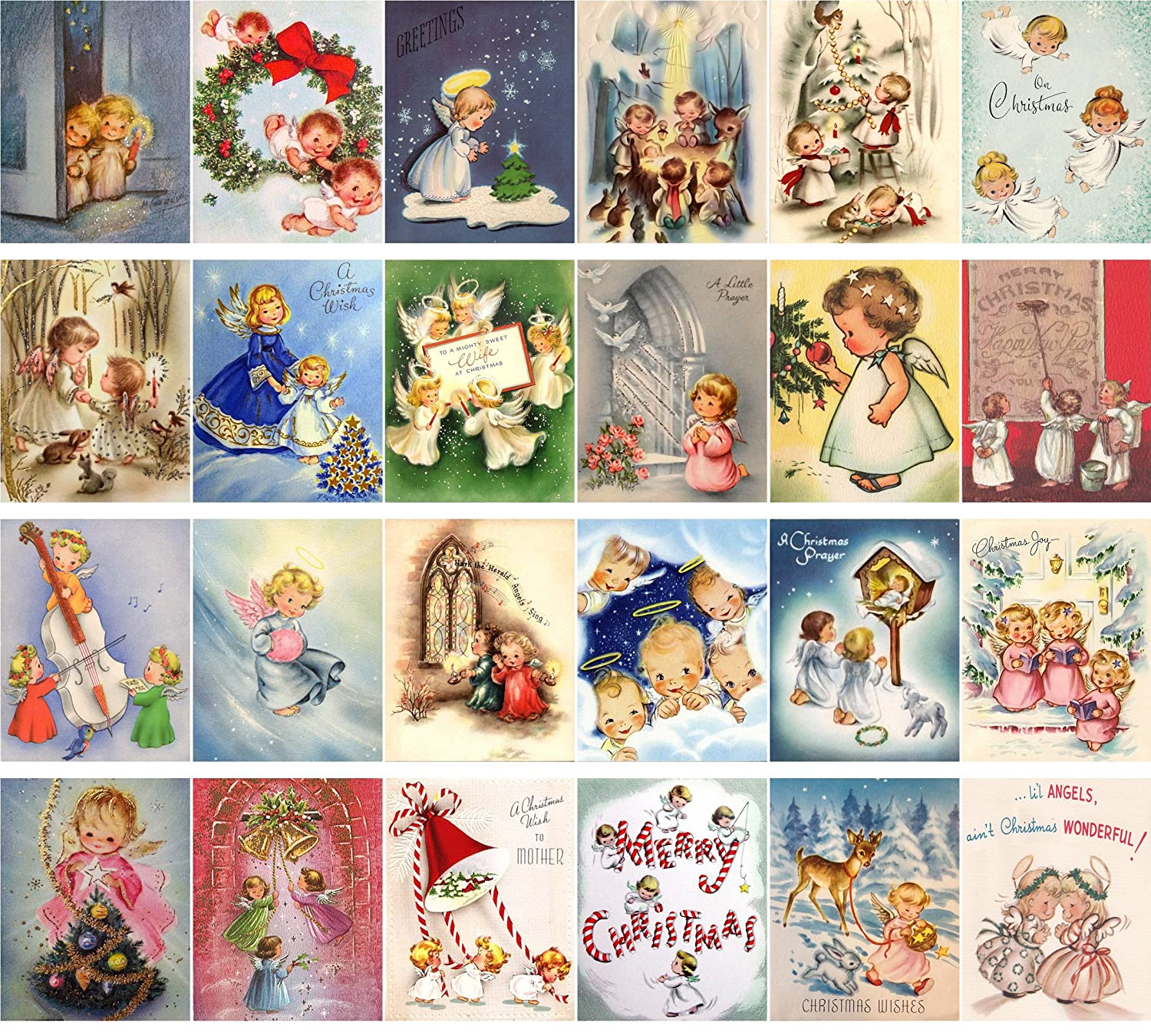 Amazon vintage christmas greeting cards 24pcs little angels amazon vintage christmas greeting cards 24pcs little angels christmas prayer reprint postcard pack office products m4hsunfo