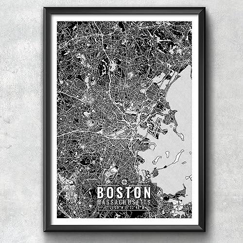 Boston Map With Coordinates, Boston Wall Art, Boston Map, Map Art, Map
