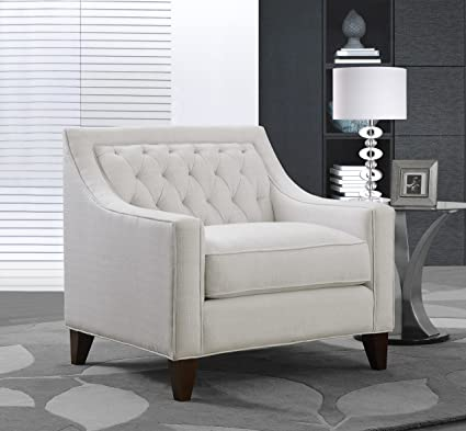 Iconic Home Orion Linen Tufted Back Rest Modern Contemporary Club Chair,  Beige