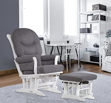 Dutailier Sleigh Glider-Multiposition Recline and Ottoman Combo White/Dark Grey & Amazon.com: Dutailier Sleigh Glider-Multiposition Recline and ... islam-shia.org