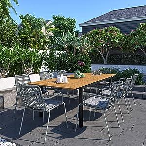 Brampton Edina 9-Piece Outdoor Rectangular Dining Table Set   Certified Teak   Ideal for Patio and Indoors