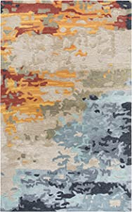 Rizzy Home Mod Collection Wool/Viscose Area Rug, 8' x 10', Tan/Gray/Black/Orange/Red/Gold/Aqua Abstract
