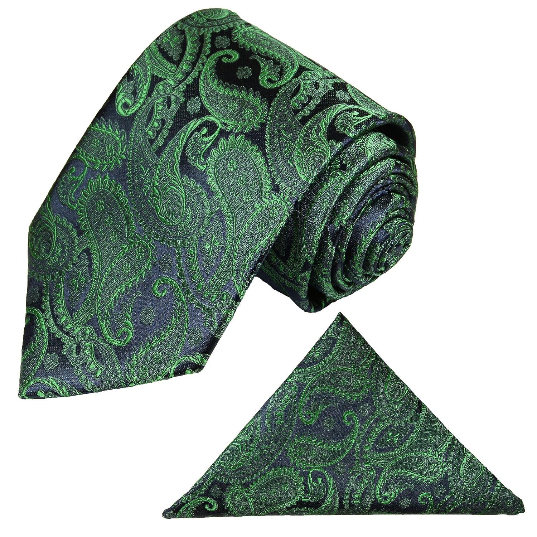 Krawatten Set 2tlg Krawatte + Einstecktuch von Paul Malone grün blau paisley Hochzeitsmode Bräutigam Tie v14