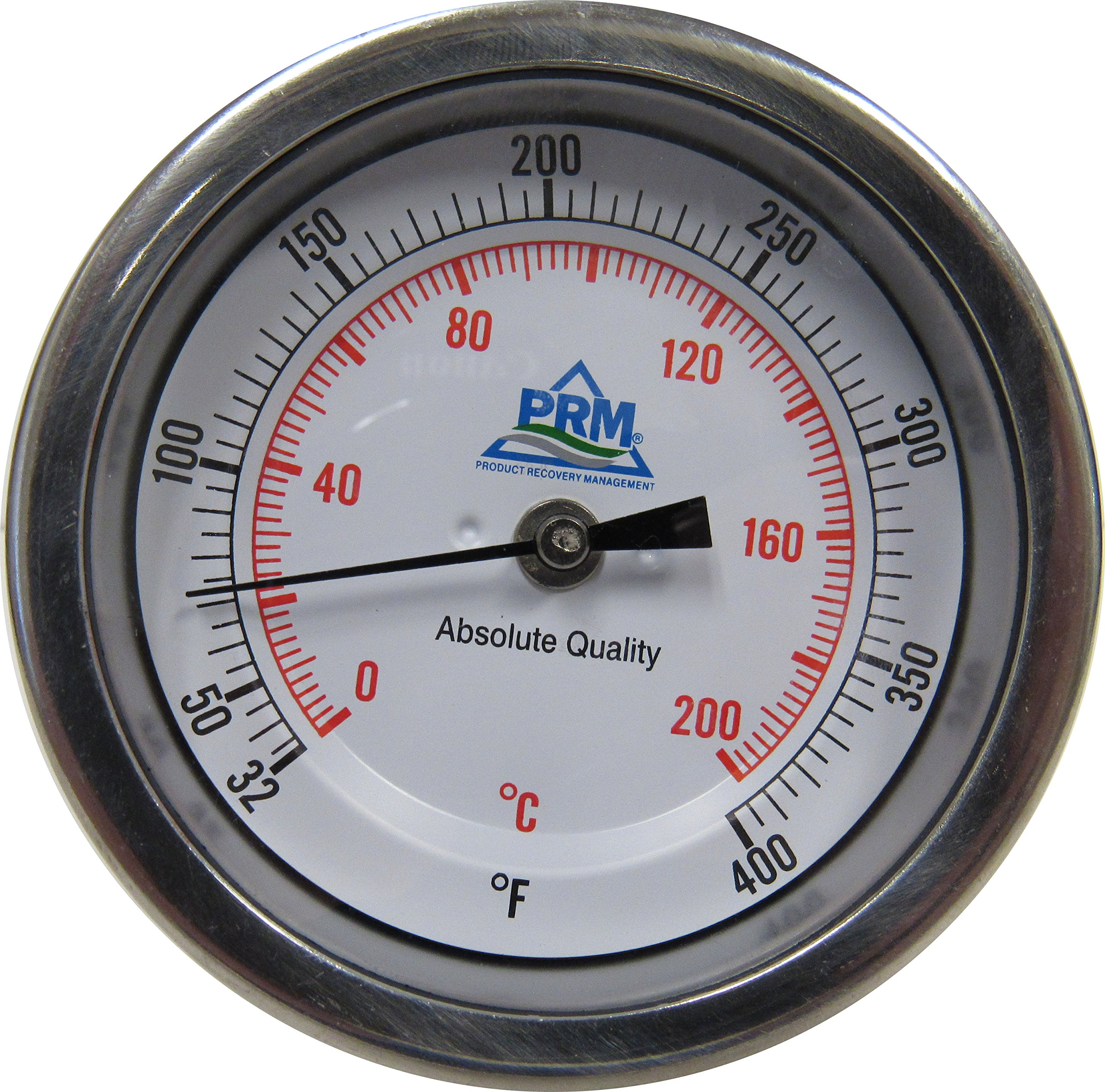 3'' TEMPERATURE GAUGE; 304 SS CASE; 32-400 F / 0-200 C; 1/2'' NPT BACK CONNECT; 4'' SS STEM
