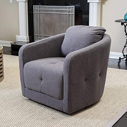 Excellent Great Deal Furniture Bernhoft Fabric Swivel Club Chair In Charcoal Ash Creativecarmelina Interior Chair Design Creativecarmelinacom