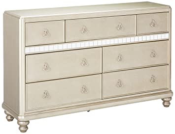 Bling Game 7 Drawer Dresser With Stacked Bun Feet Metallic Platinum