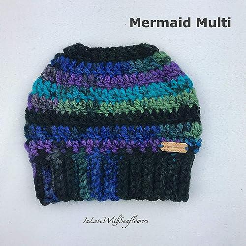 120b0cd11a8c1 Amazon.com  Messy Bun Beanie - Mom Bun Hat - Ponytail Hat - Mermaid Multi  Color  Handmade