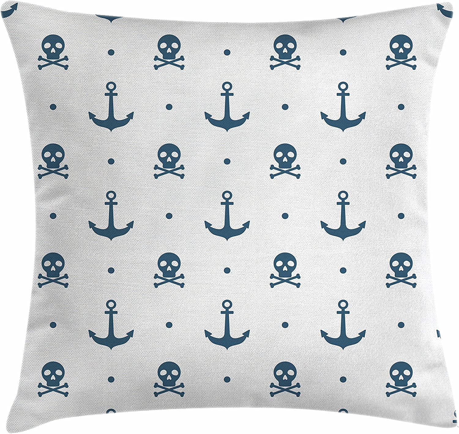 Amazon Com Ambesonne Anchor Throw Pillow Cushion Cover Anchors And Skulls Crossed Bones Dots Pirate Horror Fear Seaman Illustration Art Decorative Square Accent Pillow Case 24 X 24 Navy Blue Home Kitchen