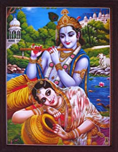 Lord Radha Krishna Sitting in River Coast, Krishna Playing with Flute and Radha Enjoying, Elegant Posture with Frame, Must for Office/Home Decor/Religious Purpose,