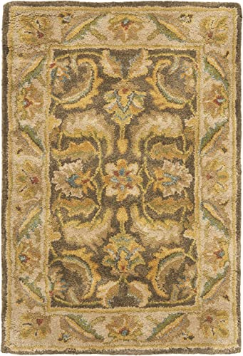 Safavieh Heritage Collection HG964A Handcrafted Traditional Oriental Green and Beige Wool Area Rug 2 x 3
