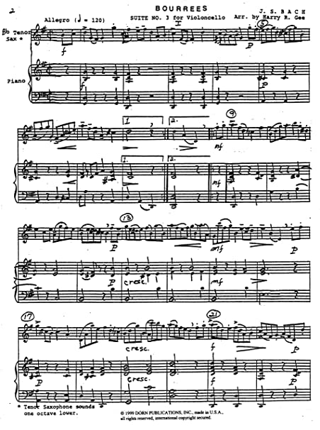 Two Bourrees for Tenor Saxophone and Piano by J.S. Bach
