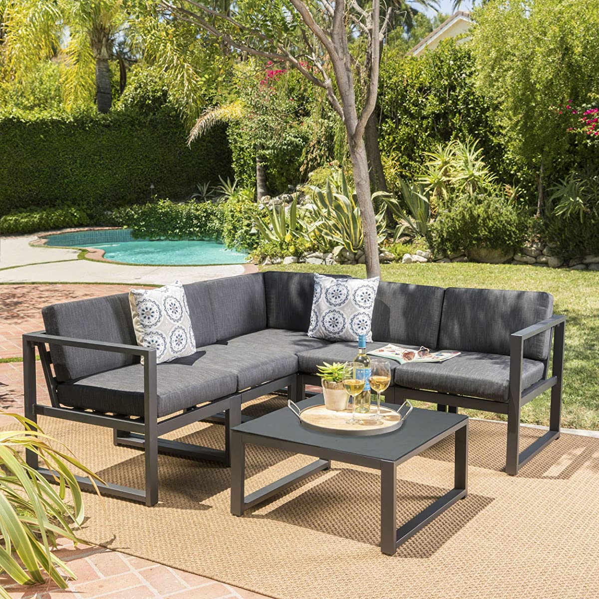 Nealie Outdoor Black Aluminum V Shaped 6 Pc Sofa Set w/Simulated Stone Tempered Glass Top Coffee Table & Dark Grey Water Resistant Cushions