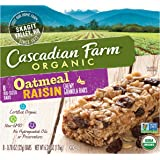 Cascadian Farm Chewy Granola Bar Organic non-GMO Oatmeal Raisin, 6.24 Ounce Bars, 8 Count