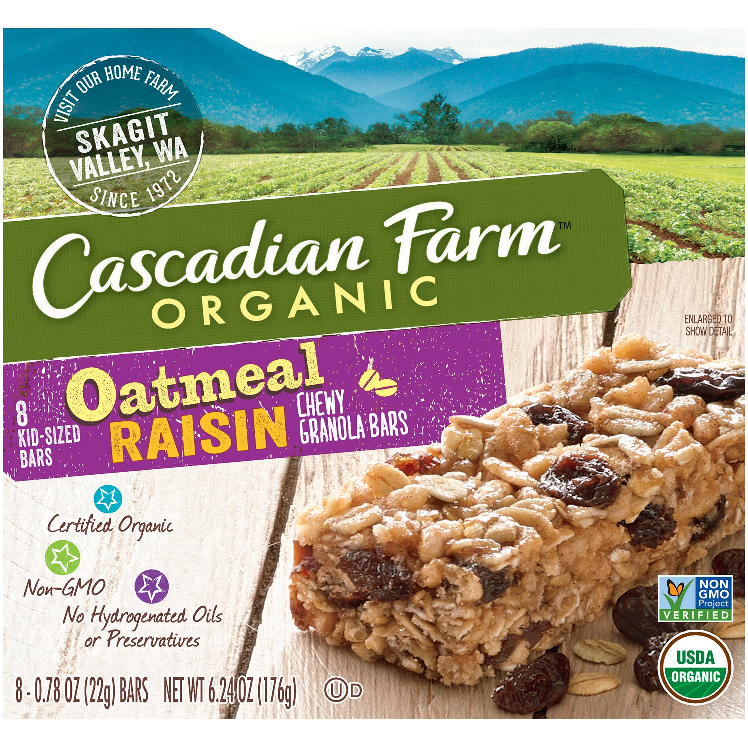 Cascadian Farm Chewy Granola Bar Organic Non GMO Harvest Berry 6 1 2