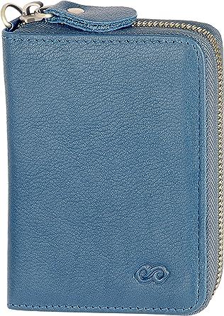 Genuine Leather Mens Women Wallet RFID Blocking Zipper Bifold Purse Card Holder