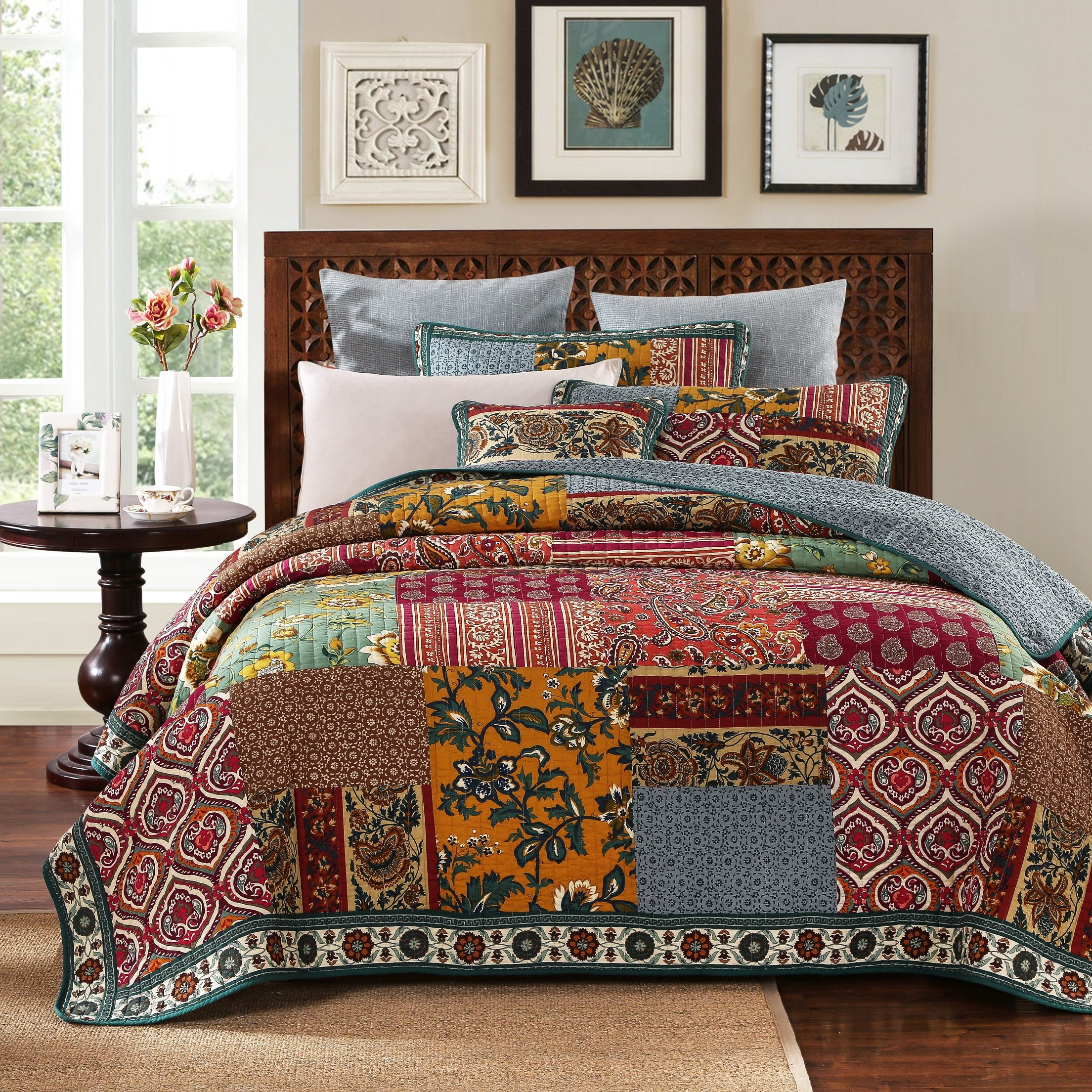 DaDa Bedding Collection Reversible Bohemian Real Patchwork Cotton Dark Elegance Floral Quilt Bedspread Set, Burgundy Red & Navy, Cal King, 3-Pieces