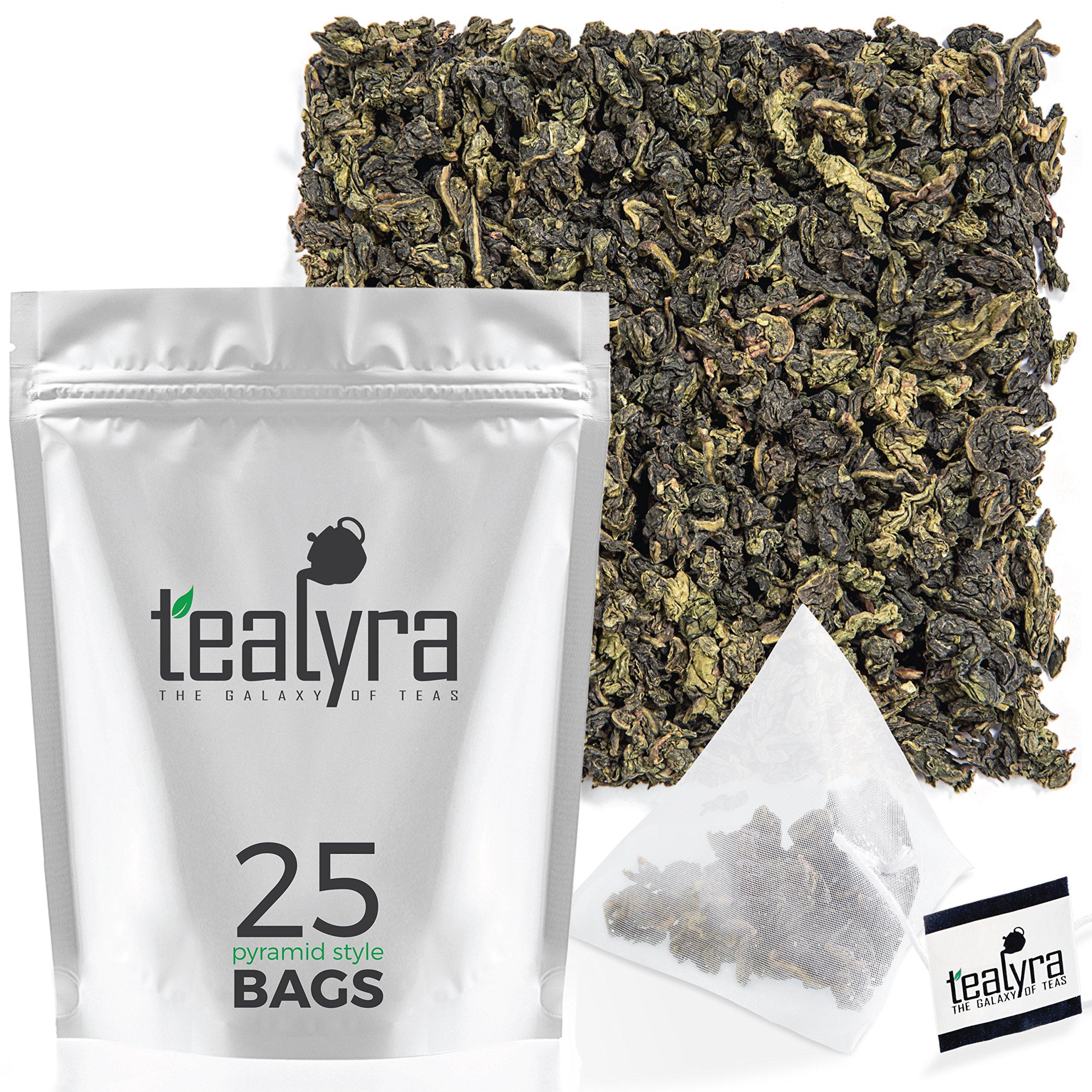 Tealyra - Tie Guan Yin Oolong - 25 Tea Bags - Iron Goddess of Mercy Loose Leaf - Organically Grown - Pyramids Style Sachets