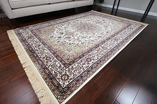 Silk New Shiny Traditional Isphan Ultra Low Pile Area Rug, Light Ivory Cream, 5 2 x 7 6