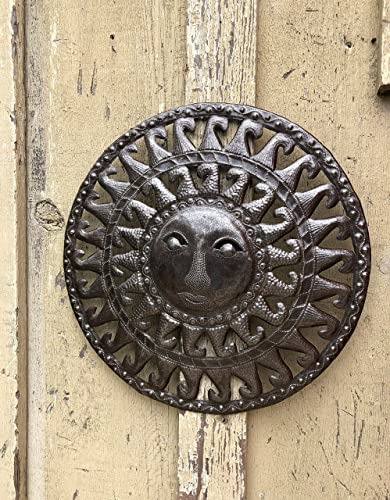 Small Metal Sun for Indoor or Outdoor, Rustic Modern Farmhouse Decor, Handmade in Haiti 17 x 17 Inches