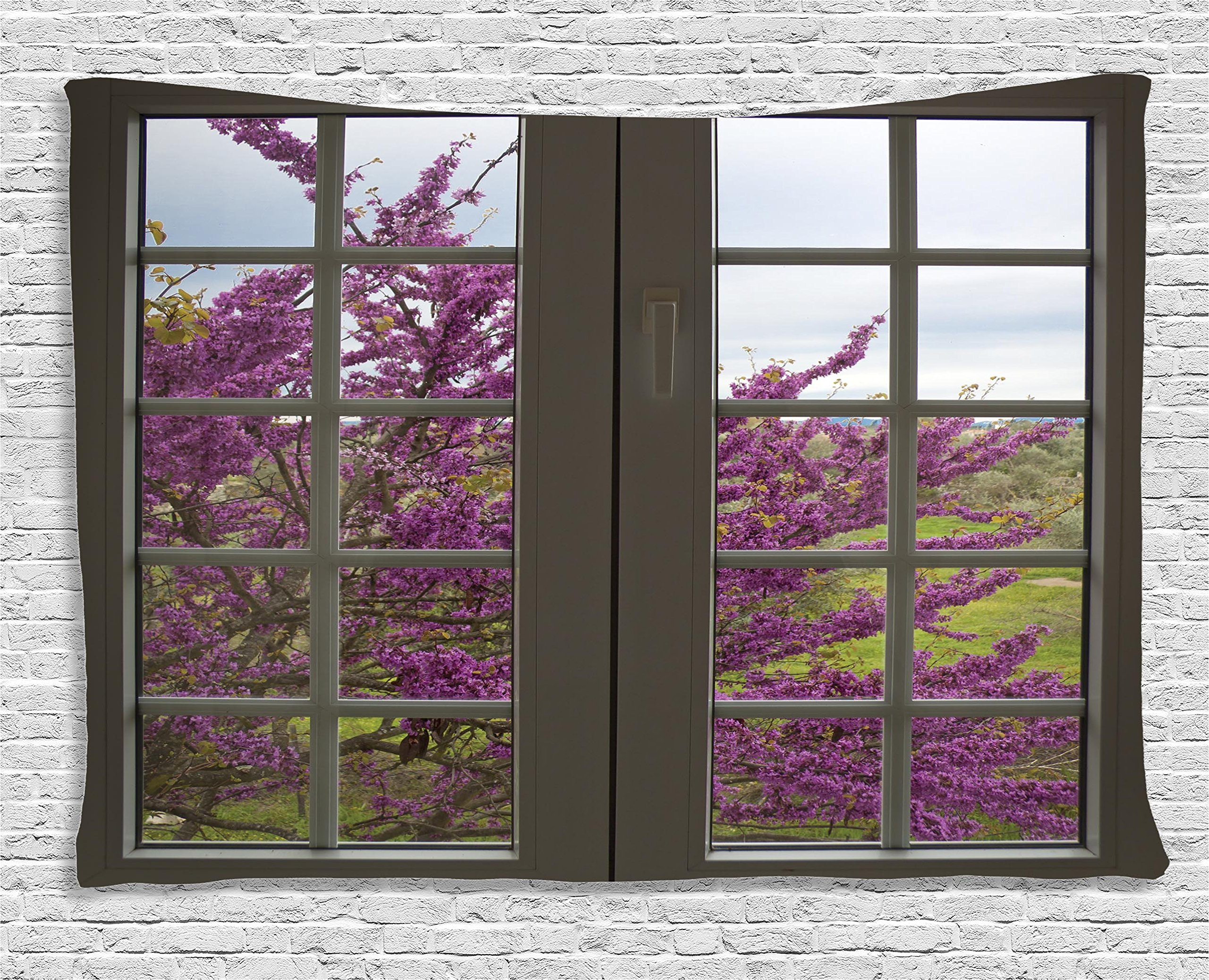 Ambesonne House Decor Collection, View Through The Window To The Countryside Purple Flowers Spring Blooms Branches , Bedroom Living Room Dorm Wall Hanging Tapestry, 60W X 40L Inch