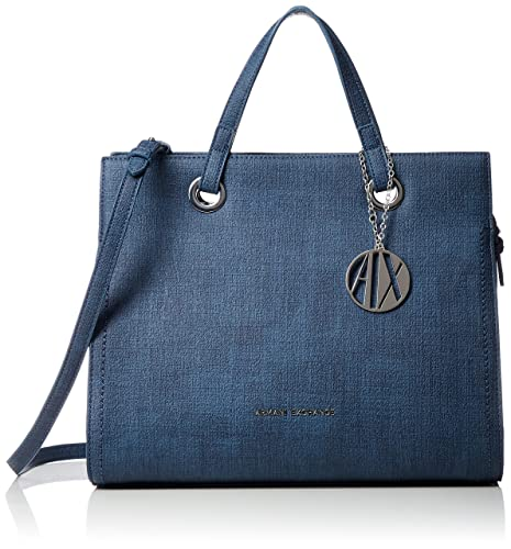 61af4b6577 Armani Exchange Texturized Tote Bag, Women's Satchel, Blue (Denim ...