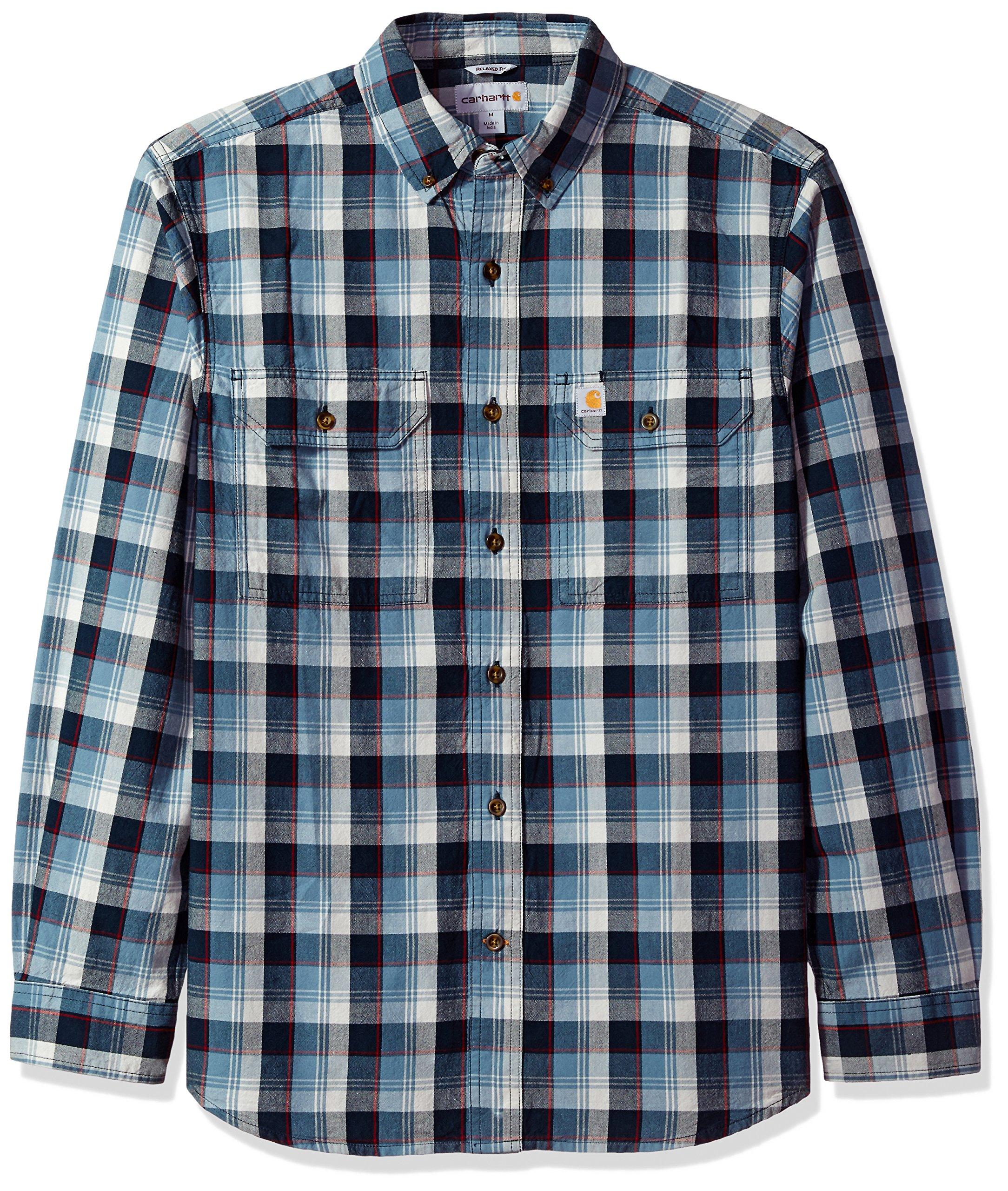 Carhartt Men's Fort Plaid Long Sleeve Shirt, Steel Blue, Large by Carhartt (Image #1)