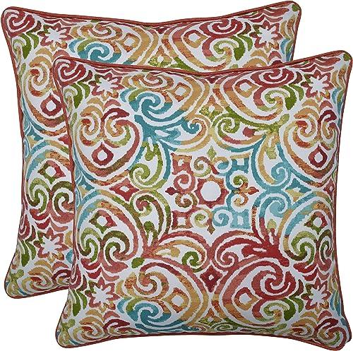 Pillow Perfect Outdoor Indoor Corinthian Dapple Throw Pillows, 18.5 x 18.5 , Blue, 2 Pack