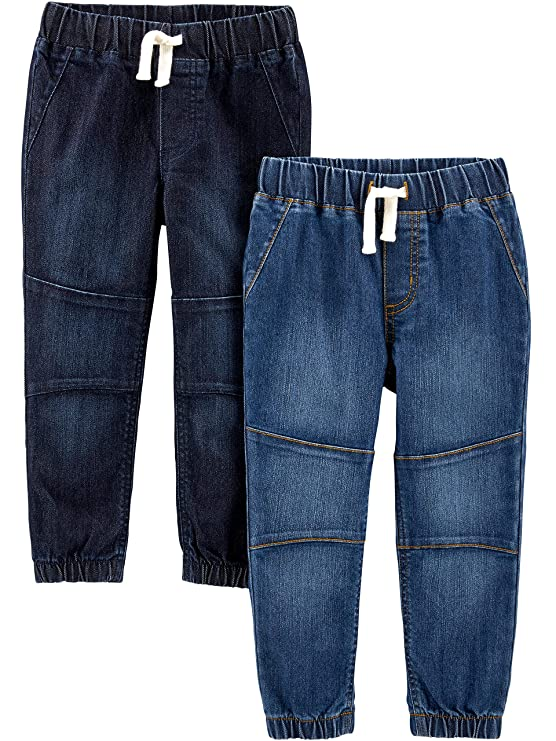 Simple Joys by Carter's Boys' Toddler 2-Pack Pull On Denim Pant, Heritage Rinse/Oceana Blue, 2T best baby jeans