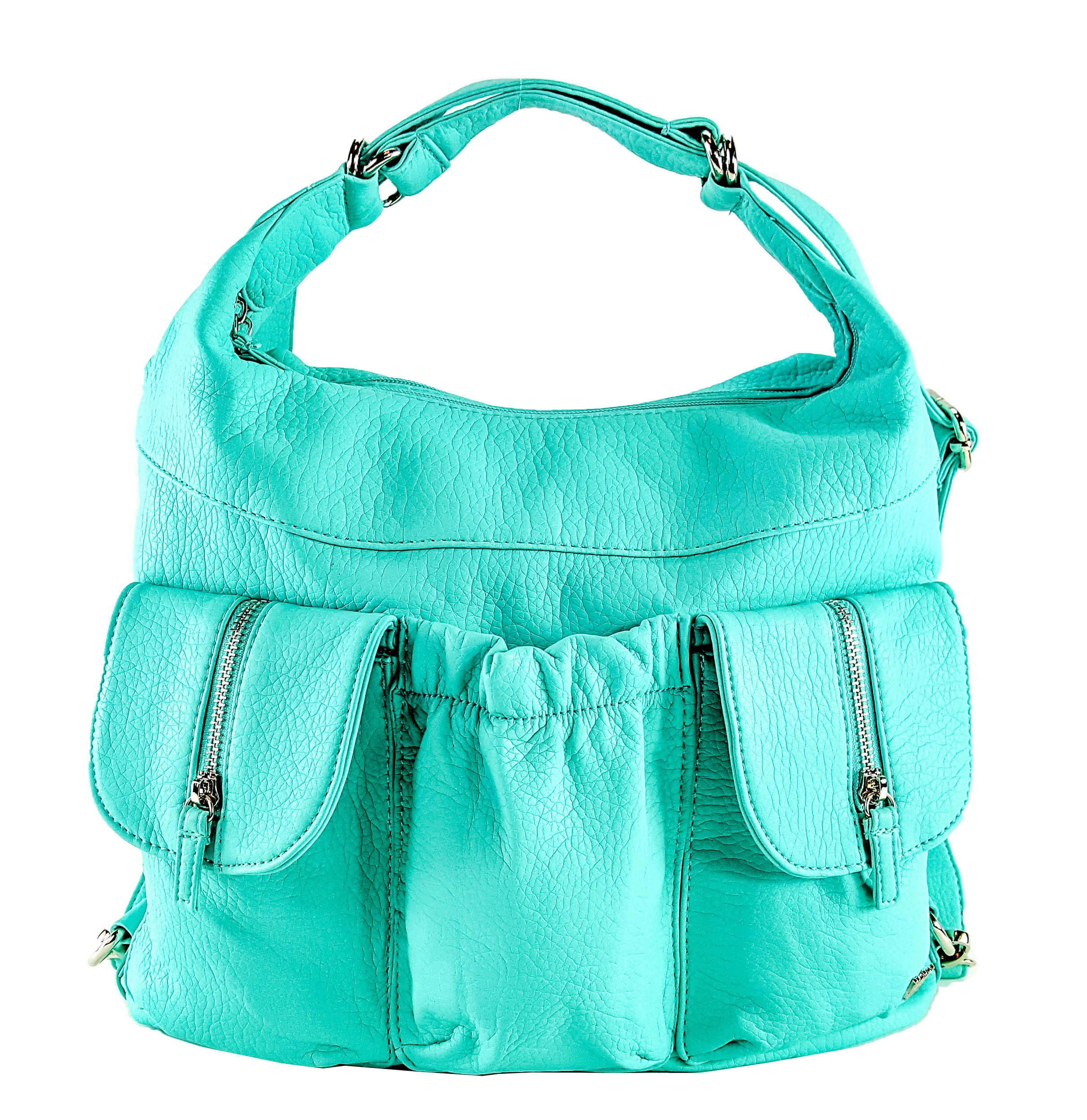 Purse King Butterfly Convertible Purse (Backpack and Shoulder Bag) in Soft Vegan Leather (Turquoise)
