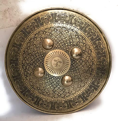 KRISHNA HANDICRAFTS Hand Crafted Big Huge Shield 16 inches with carvings Mughal Armor
