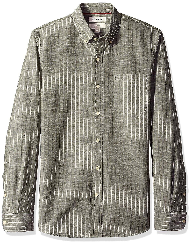 Men's Steampunk Clothing, Costumes, Fashion Amazon Brand - Goodthreads Mens Slim-Fit Long-Sleeve Pinstripe Chambray Shirt $30.00 AT vintagedancer.com