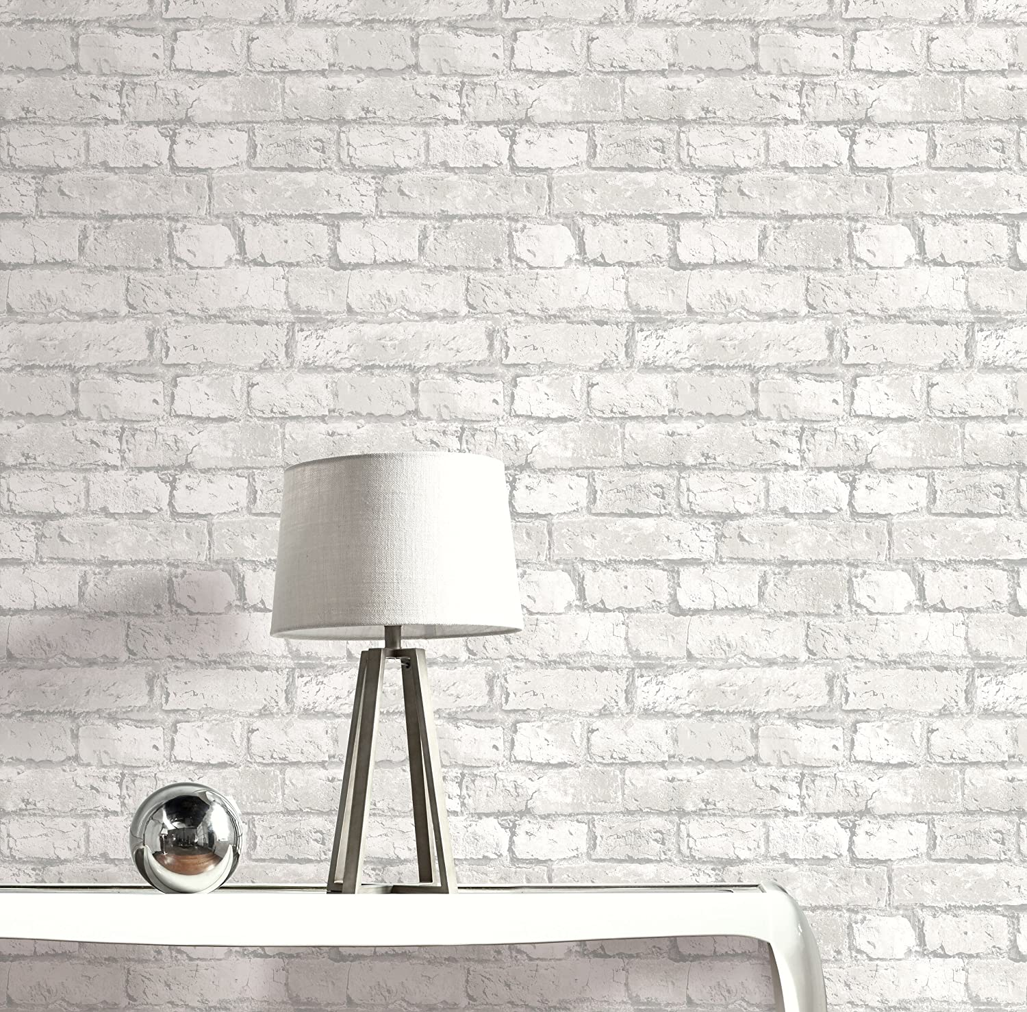 Realistic Brick Wallpaper (Grey and White)