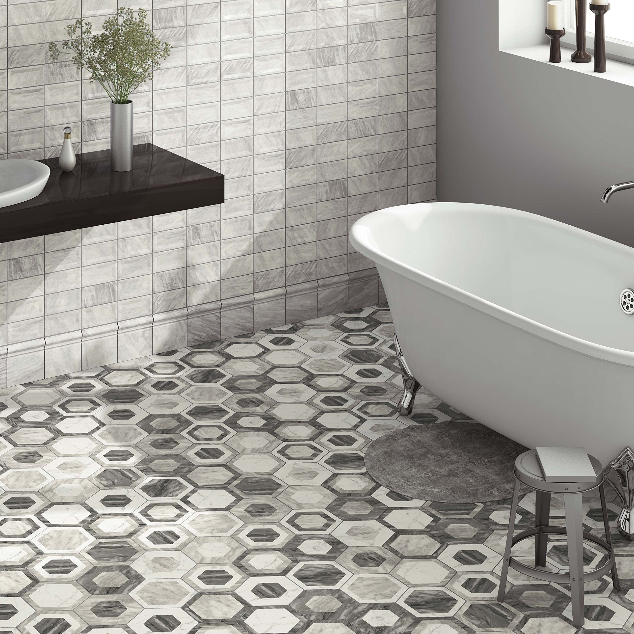 SomerTile FEQ8BXG Murmur Bardiglio Hexagon Porcelain Floor and Wall Tile, 7'' x 8'', Geo by SOMERTILE (Image #10)