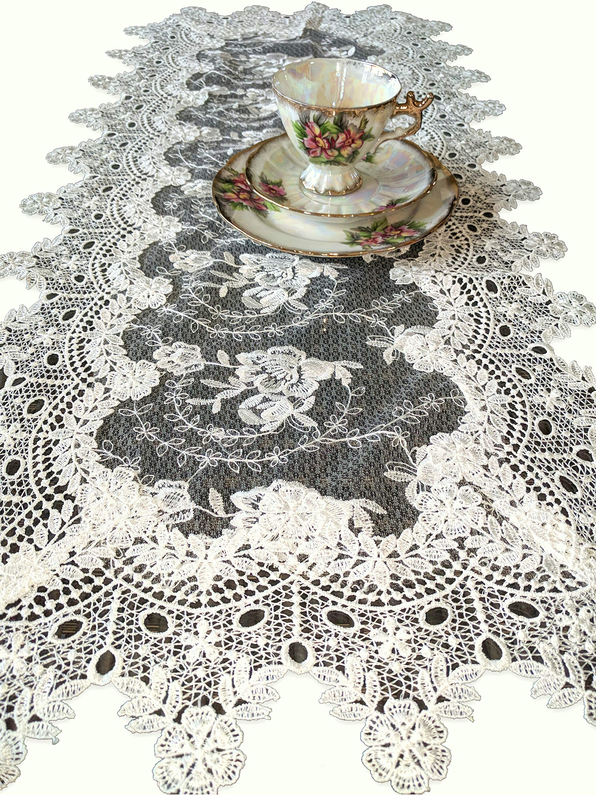 Galleria di Giovanni Dresser Scarf Table Runner Victorian English Rose Sheer 35 Inch Vintage Style Doily