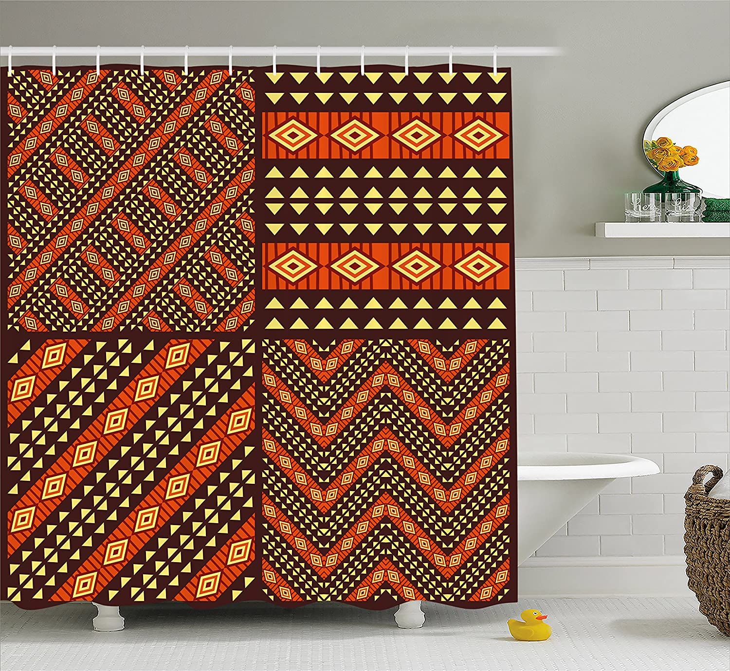 Ambesonne african shower curtain tribal african ethnic patterns traditional motifs geometric design artwork fabric bathroom decor set with hooks