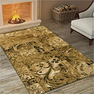 SUPERIOR Modern Scroll Collection Area Rug, Elegant Scrolling Patchwork Design, 10mm Pile Height with Jute Backing - 5' x 8' Rug, Multi -Color