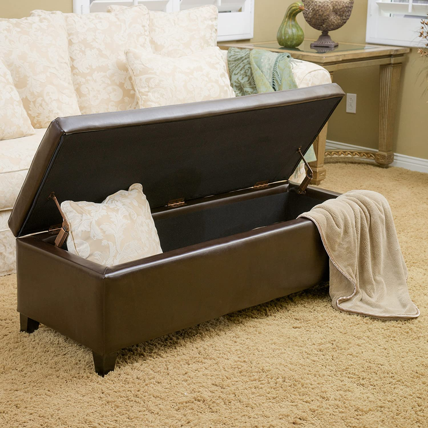 Great Deal Furniture 296179 Virginia Chocolate Brown Storage Ottoman,